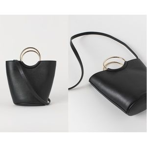 H&M Black Bag with Gold Ring Handle